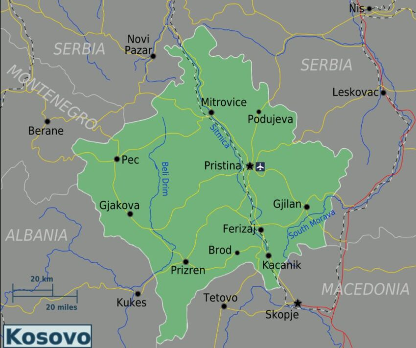 Overview map of Kosovo